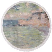 Cliffs And The Porte Damont, Morning Effect, 1885 Oil On Canvas Round Beach Towel