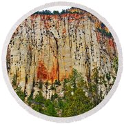 Cliffs Near Checkerboard Mesa Along Zion-mount Carmel Highway In Zion National Park-utah Round Beach Towel