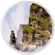 Clare   The Cliffs Of Moher   Round Beach Towel