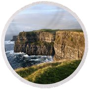 Cliffs Of Moher Evening Light Round Beach Towel
