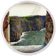 Cliffs Of Moher From O'brien's Tower Round Beach Towel