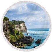 Cliffs On The Indonesian Coastline Round Beach Towel