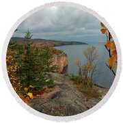 Round Beach Towel featuring the photograph Cliffside Fall Splendor by James Peterson