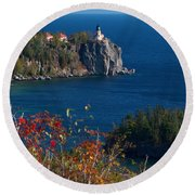 Cliffside Scenic Vista Round Beach Towel by James Peterson