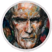 Clint Eastwood Round Beach Towel by Laur Iduc