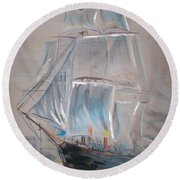 Clipper In Mist Round Beach Towel by Peter Suhocke