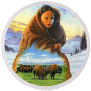 Cloak Of Visions Buffalo Round Beach Towel