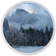 Cloaked In A Snow Storm Round Beach Towel