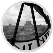Clock At Musee D'orsay Round Beach Towel
