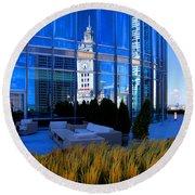 Clock Tower Reflection Round Beach Towel