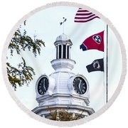 Clock Tower With Tennessee Mia Us Flag Art Round Beach Towel