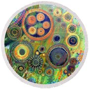 Clockwork Garden Round Beach Towel