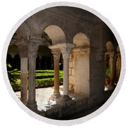 Cloister Of Ancient Monastere Round Beach Towel
