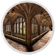 Cloisters At Lacock Abbey Round Beach Towel