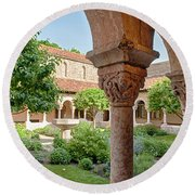 Cloisters Courtyard Round Beach Towel