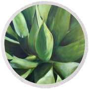 Close Cactus II - Agave Round Beach Towel