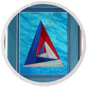 Round Beach Towel featuring the mixed media Close Encounter by Ron Davidson