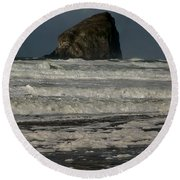 Close Haystack Rock Round Beach Towel by Susan Garren