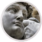 Close-up Face Statue Of David In Florence Round Beach Towel