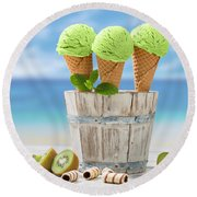 Close Up Ice Creams Round Beach Towel