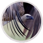 Close-up Of A White-backed Vulture Round Beach Towel