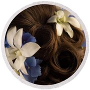 Close-up Of Flowers In A Brides Hair Round Beach Towel