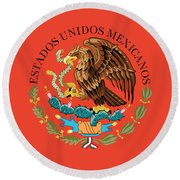 Close Up Of The Seal Within The Mexican National Flag Round Beach Towel