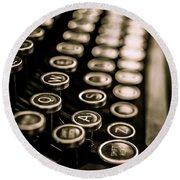 Close Up Vintage Typewriter Round Beach Towel