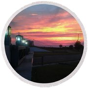 Closed Flood Gates Sunset Round Beach Towel by Deborah Lacoste