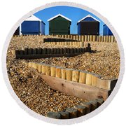 Round Beach Towel featuring the photograph Closed For The Winter by Wendy Wilton