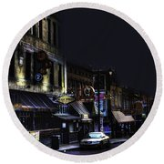 Memphis - Night - Closing Time On Beale Street Round Beach Towel
