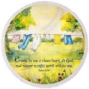 Clothesline Psalm 51 Round Beach Towel