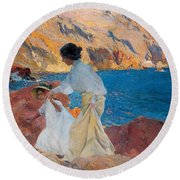 Clotilde And Elena On The Rocks Round Beach Towel