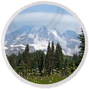 Cloud Capped Rainier Round Beach Towel by Tikvah's Hope