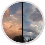 Cloud Diptych Round Beach Towel