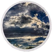 Round Beach Towel featuring the photograph Cloud Drama by Mark Myhaver