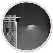 Round Beach Towel featuring the photograph Cloud Lamp Building by Silvia Ganora