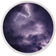 Round Beach Towel featuring the photograph Cloud Lightning by James Peterson