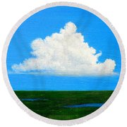 Cloud Over Wetlands Round Beach Towel