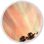Round Beach Towel featuring the photograph Cloud Streams by Charlotte Schafer
