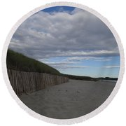 Clouded Beach Round Beach Towel by Robert Nickologianis