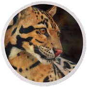Clouded Leopard Round Beach Towel by David Stribbling