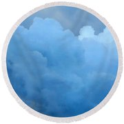 Clouds 2 Round Beach Towel by Leanne Seymour