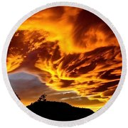 Round Beach Towel featuring the photograph Clouds 2 by Pamela Cooper