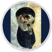 Clouds In My Coffee Round Beach Towel by Angela Davies