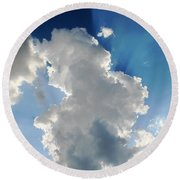 Clouds In The Sun Round Beach Towel