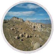 Clouds On Blue Sky Over Bishop Round Beach Towel