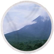 Clouds Over A Mountain Peak, Arenal Round Beach Towel