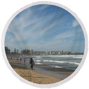 Round Beach Towel featuring the photograph Clouds Over Manly Beach by Leanne Seymour