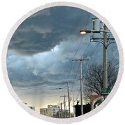 Clouds Over Philadelphia Round Beach Towel